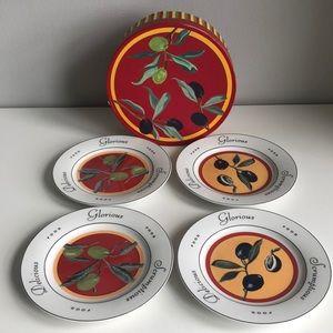 Oliver Olive Design Appetizer/Dessert Plates Set